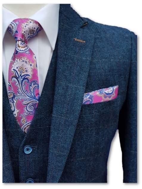 Cavani Carnegi Mens 3 Piece Blue Slim Fit Check Tweed Suit - 36R / 30R - Suit & Tailoring