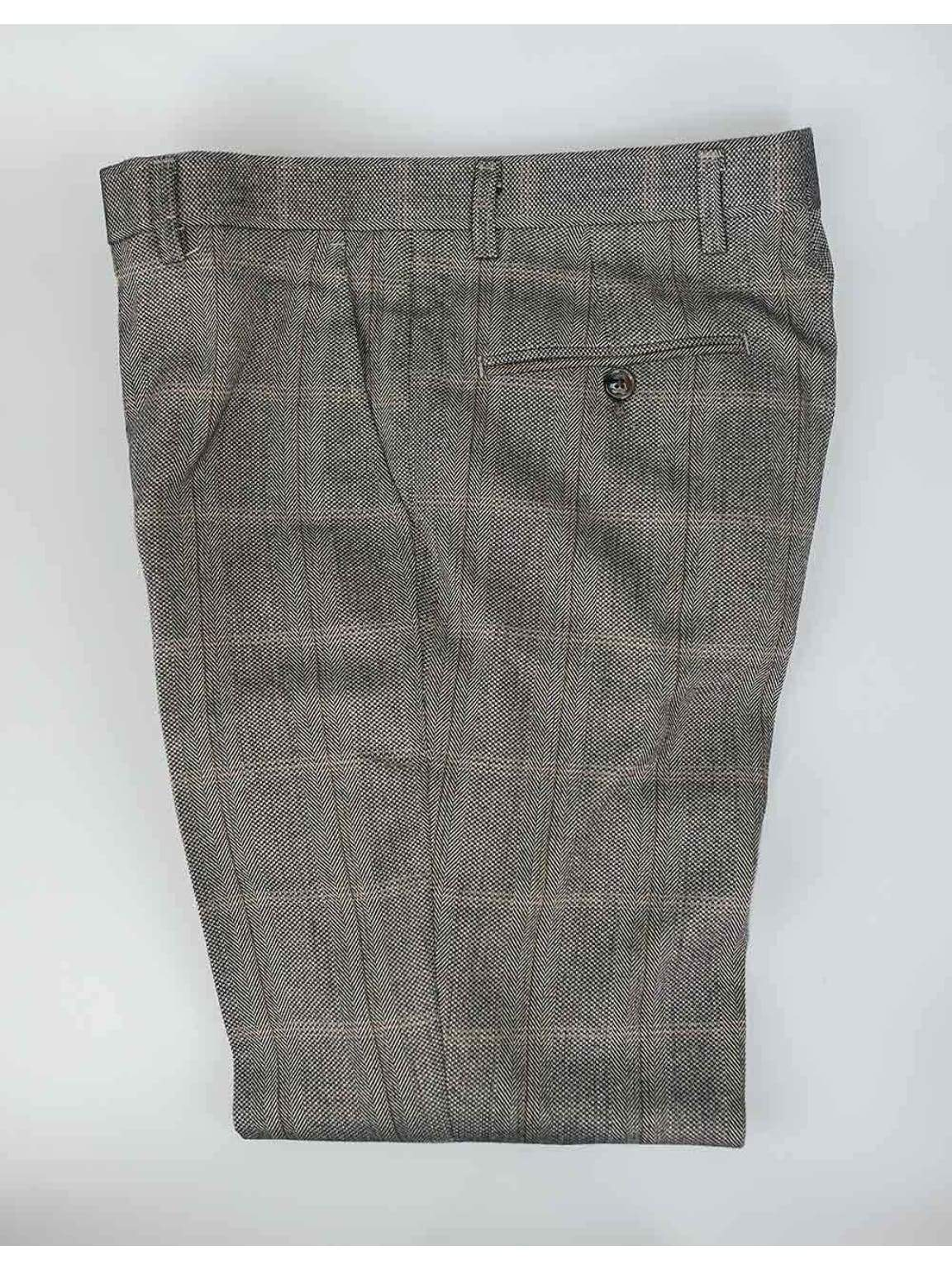 Cavani Connall Tweed Brown Mens Slim Fit Trousers - 30R - Suit & Tailoring