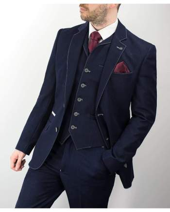 Cavani Fabian Navy Denim Three Piece Suit - 34R / 28R - Suit & Tailoring