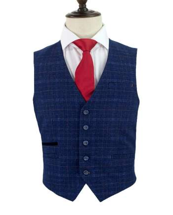 Cavani Kaiser Blue Tweed Waistcoat - 36 - Suit & Tailoring