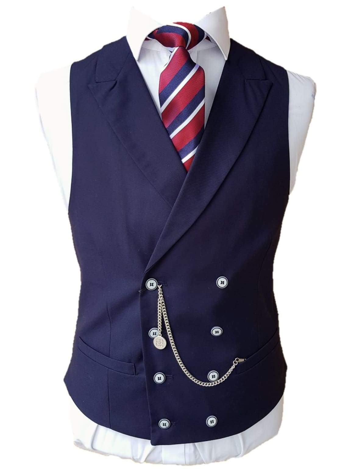 Cavani Lennox Navy Tweed Waistcoat - Suit & Tailoring