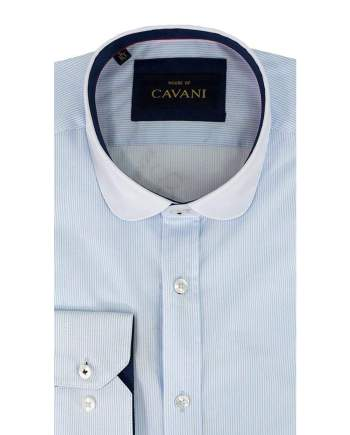 Cavani Penny Collar Sky Blue Stripes Shirt - UK 14.5 | EU 37 - Shirts