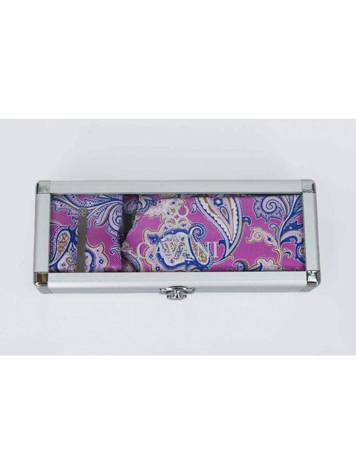 Cavani Pink Paisley Tie Hank Tie Pin Cufflinks Set - Accessories