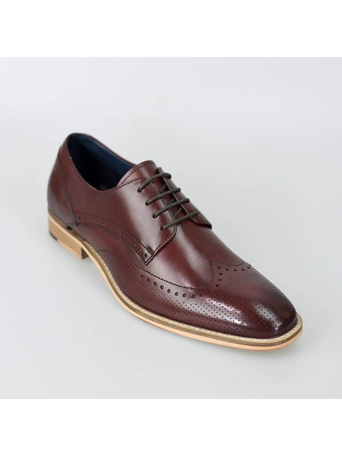 Cavani Rome Mens Leather Cherry Shoes - UK7 | EU41 - Shoes