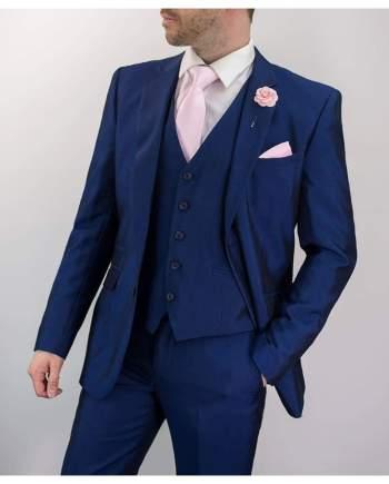 Ford 3 Piece Slim Fit Blue Suit - 36S / 30S - Suit & Tailoring