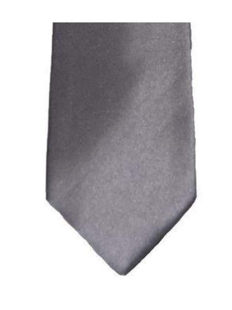 Grey Plain Satin Tie Set - Accessories