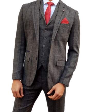 Grey Tweed Suit Albert 3 Piece Slim Fit by House of Cavani - Suit & Tailoring