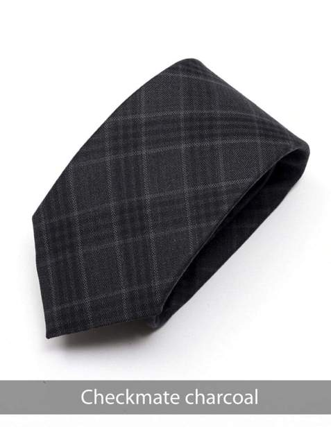 Heirloom Checkmate Mens Charcoal Check Tie - Accessories