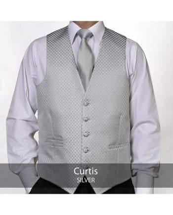Heirloom Curtis Mens Silver Luxury 100% Wool Tweed Waistcoat - 34R - WAISTCOATS