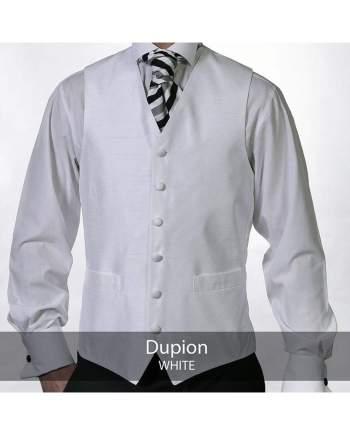 Heirloom Dupion Mens White Luxury 100% Wool Tweed Waistcoat - 34R - WAISTCOATS