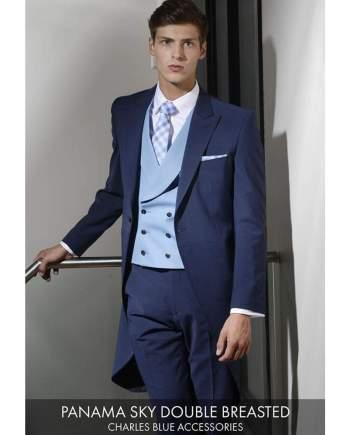 Heirloom Panama Mens Sky Double Breasted Luxury 100% Wool Tweed Waistcoat - 34R - WAISTCOATS