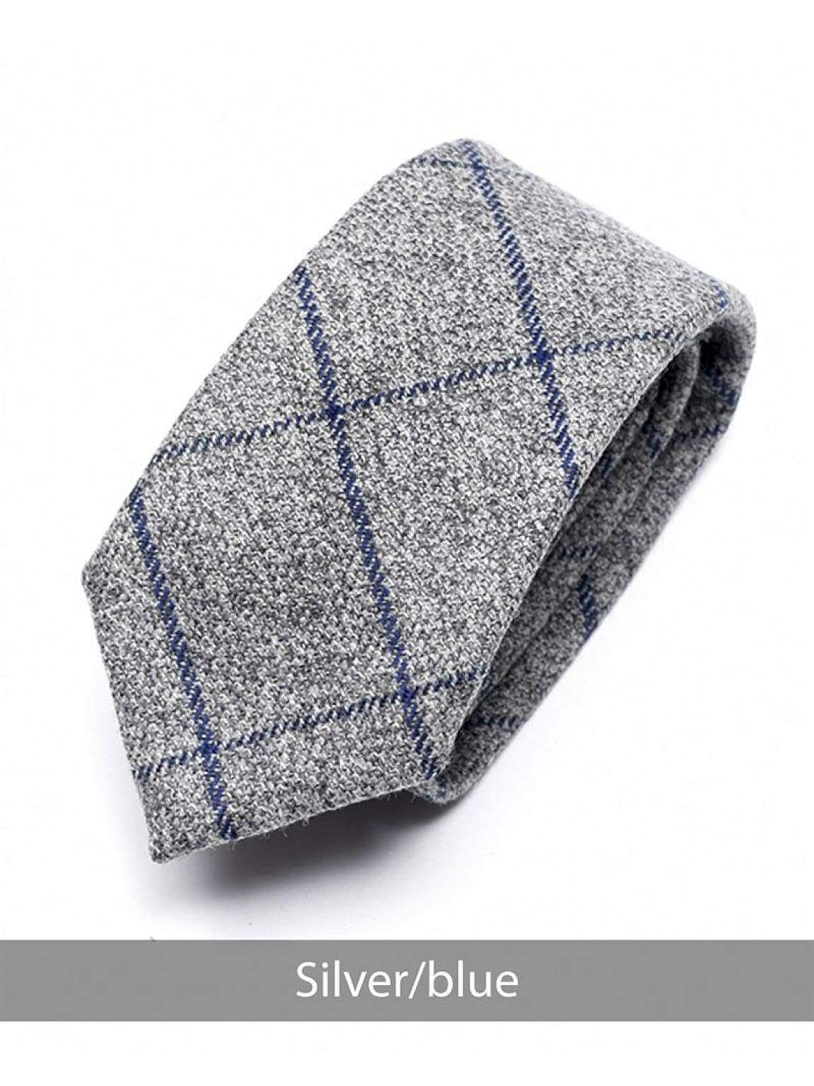 Heirloom Silver Mens Blue Checked Tie - Accessories