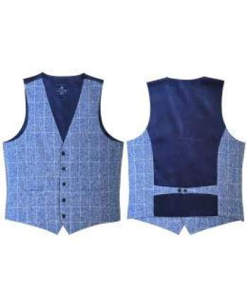 L A Smith Linen-Look Blue Modern Fit Waistcoat - Suit & Tailoring
