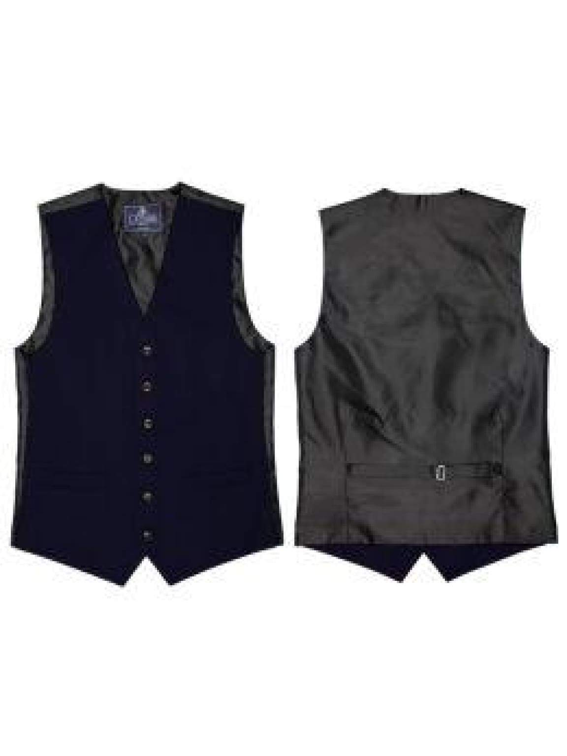 L A Smith Navy Plain Country Waistcoat - Suit & Tailoring