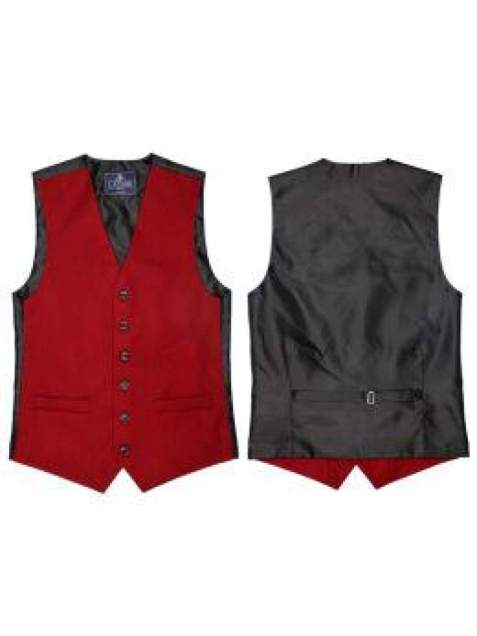 L A Smith Wine Plain Country Waistcoat - S - Suit & Tailoring