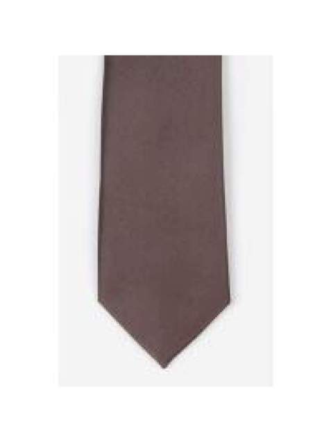 LA Smith Brown Skinny Satin Tie - Accessories