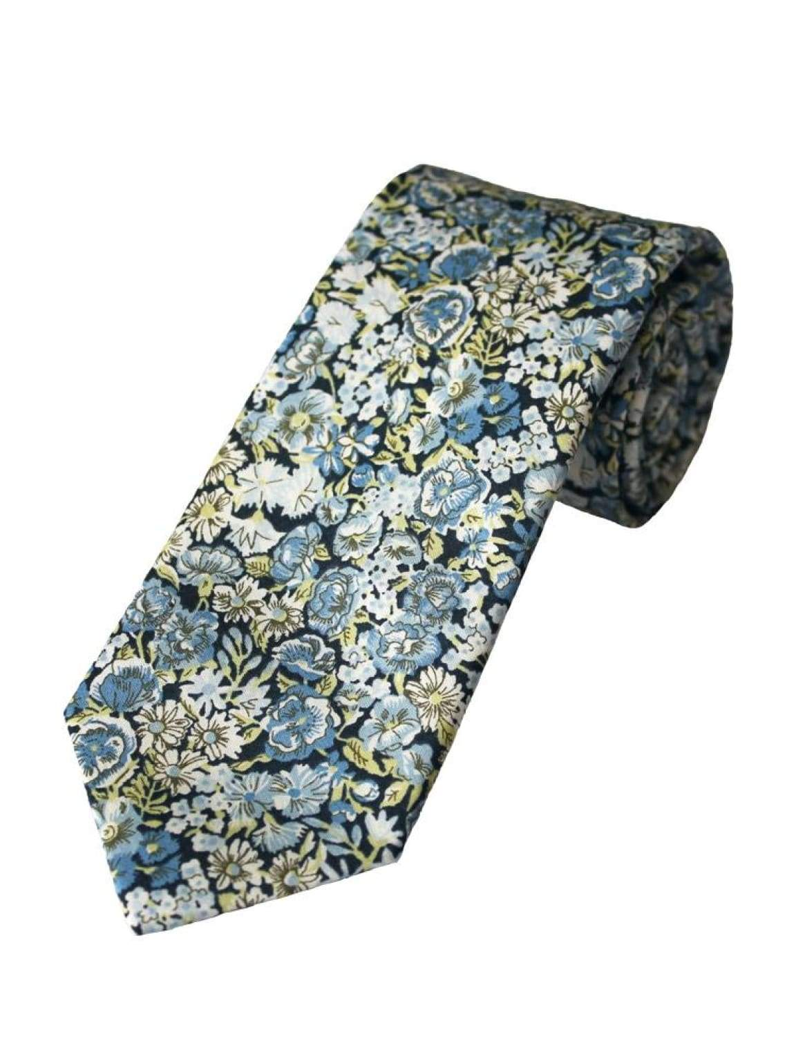 Liberty Fabric Chive Blue Gold Pure Cotton Tie - Accessories