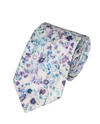 Liberty Fabric Floral Picnic Blue Cotton Tie - Accessories