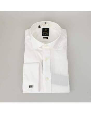 Mens Classic Collar Double Cuff White Slim Fit Shirt by Cavani - UK 14.5 | EU 37 - Shirts