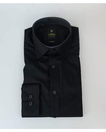 Mens Easy Iron Black Slim Fit Shirt by Cavani - Shirts