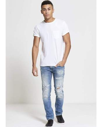 SAVAGE Slim Fit Stretch Jeans In Light Destroyed Wash - Jeans