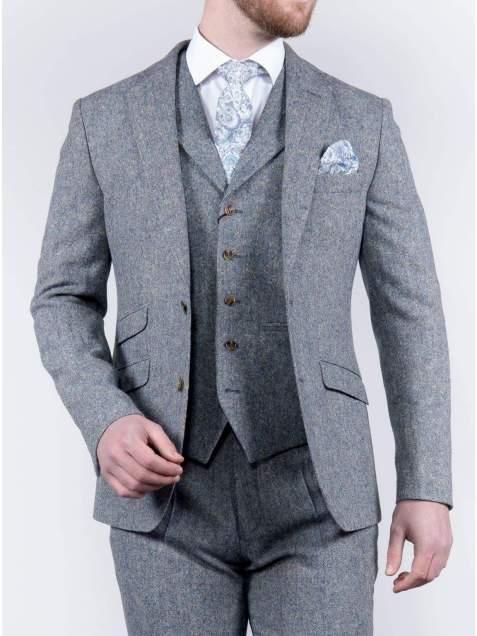 Torre 3 Piece Blue 100% Donegal Wool Tweed Suit - Suit & Tailoring