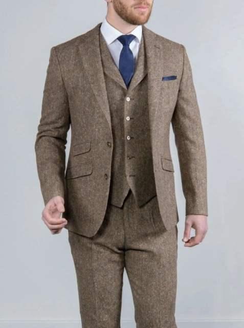 Torre Elton Tweed 100% Wool Mens Brown Donegal Tweed Mix & Match Suit - Suit & Tailoring