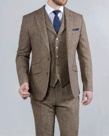 Torre Elton Tweed 100% Wool Mens Brown Donegal Tweed Mix & Match Suit - Suit & Tailoring