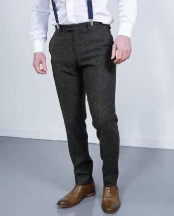 Torre Tweed Mens Green Donegal Tweed Trousers - 32S - Suit & Tailoring