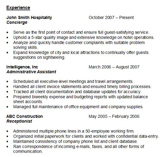 resume experience sample