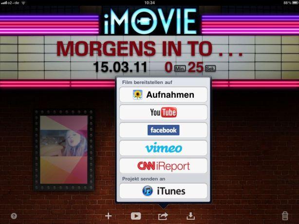 iMovie App - Videosharing Optionen