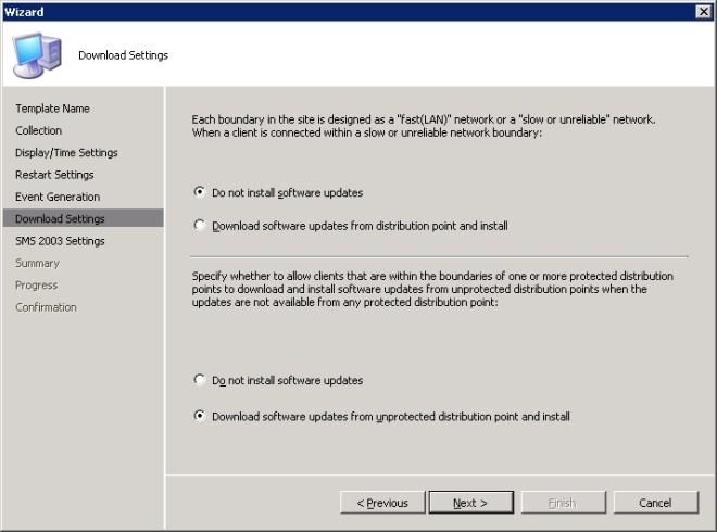 Wizard - Download Settings