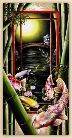 Japanese surrealism painting, Japanese fantasy art, Japanesque, surrealism oil painting, Asian art, Japanese art, Japaense garden, bamboo, fantasy fine art painting, koi fish oil painting