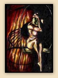 emotion, beautiful oil painting, art, surrealism,fine art, hiroko sakai, spiritual, inspiring painting, inspiring art, cool art, birdcage, nude, flame, fire,sorrow, depression, woman nude