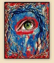 emotion, beautiful oil painting, art, surrealism,fine art, hiroko sakai, spiritual, inspiring painting, inspiring art, cool art, eye, tears, thorn, red, colorful, maze