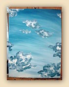 blue sky painting, clouds painting, sky painting, blue, oil painting, beautiful sky,painting process, sky painting