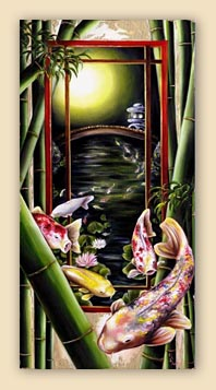 japanese painting, koi painting, carp painting, japanesque, japanese art, asian art, bamboo, japanese garden painting, surreal painting, surrealism, fantasy painting, cool painting, hiroko sakai fine art, hiroko sakai hiroko
