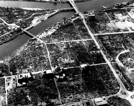 View over the T-shaped Aioi bridge in the center of Hiroshima after the nuclear bombing