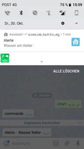 Waasser Alerte um Smartphone