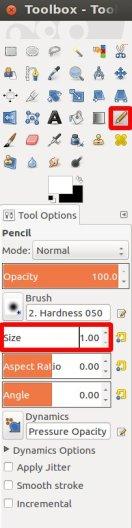 Pencil Settings in GIMP