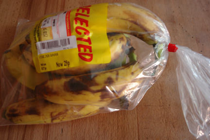 bag of over ripe, marked down bananas