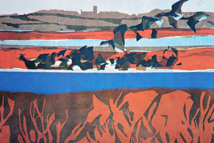 detail of an illustration of brent geese from a vintage 1970s RSPB magazine