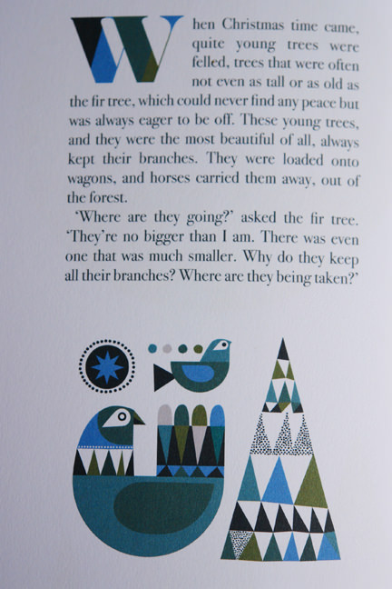 "illustrations of birds in ""The Fir Tree"" a book illustrated by Sanna Annuka"