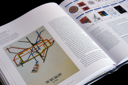 "page from ""London Underground Maps - Art, Design and Cartography"" by Louise Dobbin showing a promotional poster for Tate Gallery using the London Underground map design designed with different coloured tubes of paint"