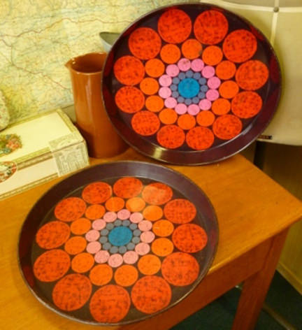 pair of vintage Worcester Ware tin trays for sale on eBay for Charity in support of North Devon Hospice