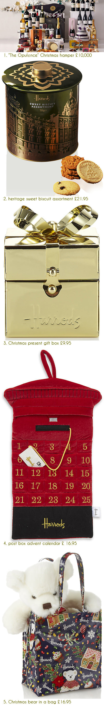 selection of festive Christmas items available at Harrods