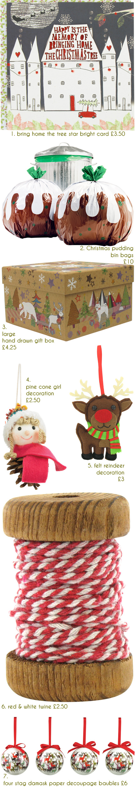selection of festive Christmas items for sale on the Paperchase website