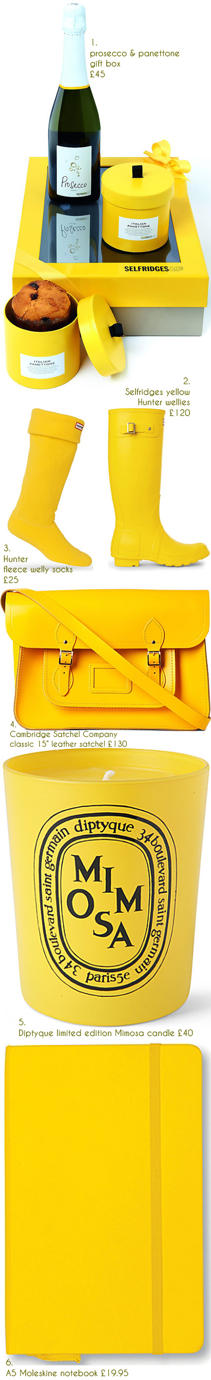 selection of yellow gift items available from Selfridges