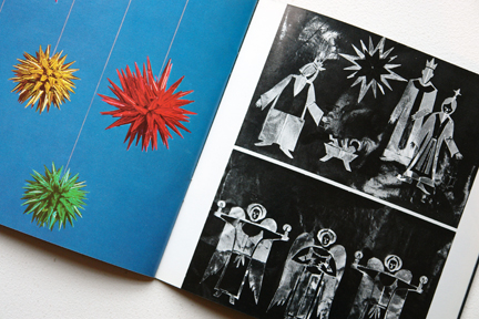 page from a vintage craft booklet showing tinfoil starbursts