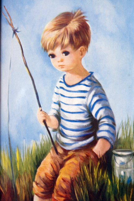 "vintage Dallas Simpson ""Wide eyed"" child print of boy sitting on a riverbank holding a fishing rod"